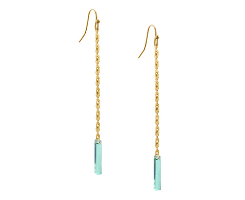 Glass & Gold Eyelet Chain & Plank Earrings