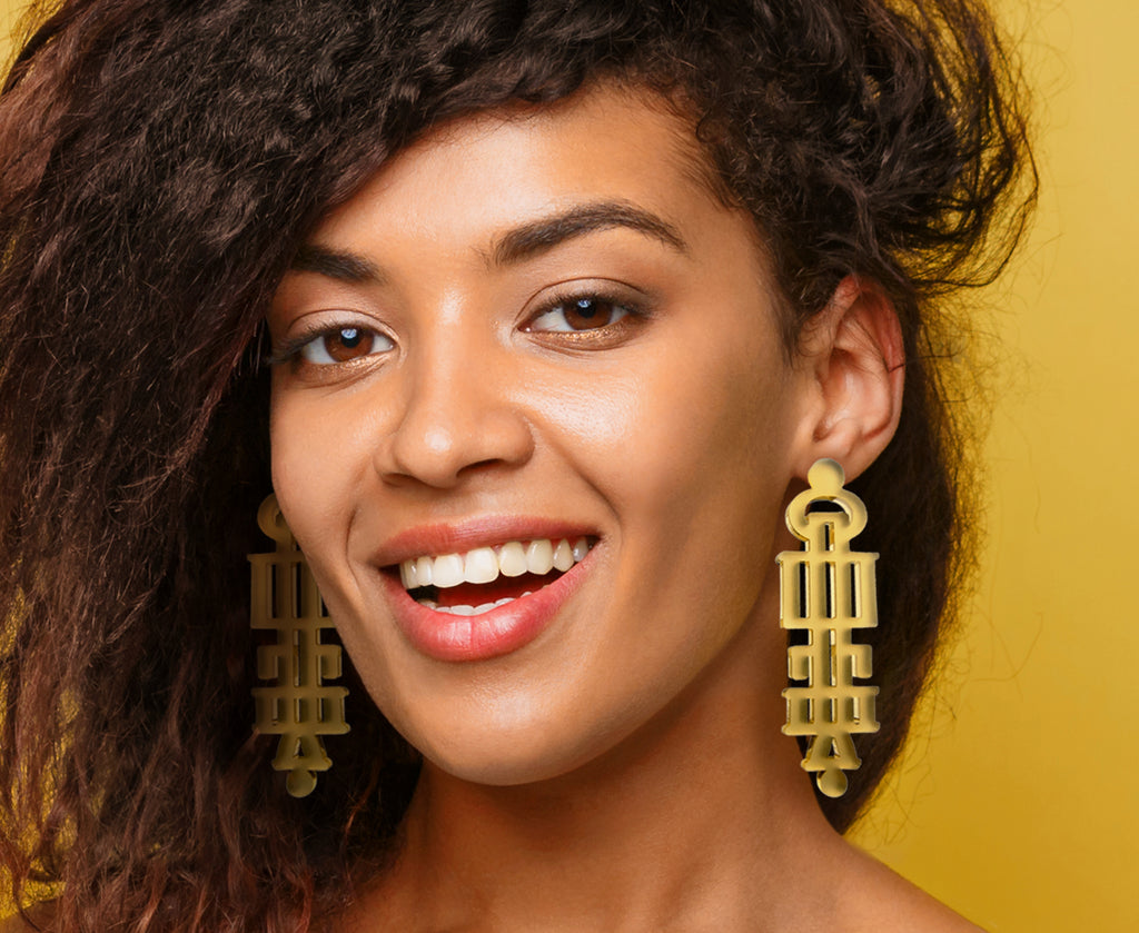 Gold 'Stay' Statement Earrings (Glagolitic Alphabet)