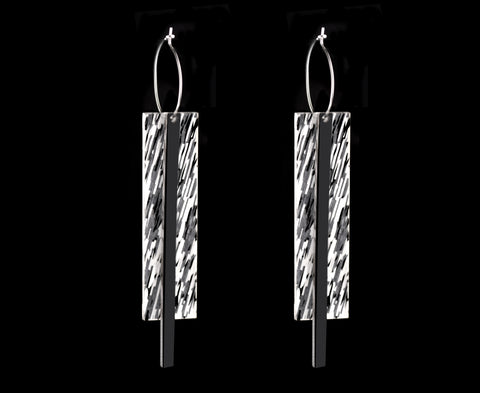 Black & Pearl 'Filament Plank' Earrings