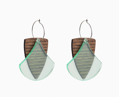 Wood & Glass 'Ginkgo Shield' Earrings