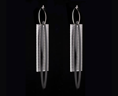 Black & Clear Ribbed 'Ellipse & Plank' Earrings