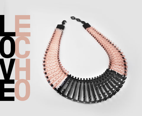 'Love Echo' Necklace – Blush & Black