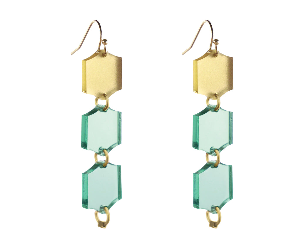 Glass & Gold Hexagon Trio Dangle Earrings