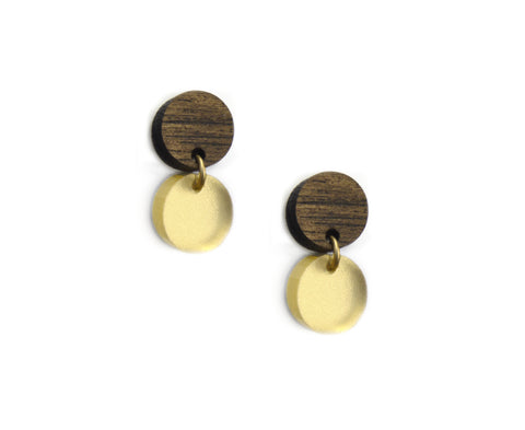 Wood & Gold Mini Circles Earrings