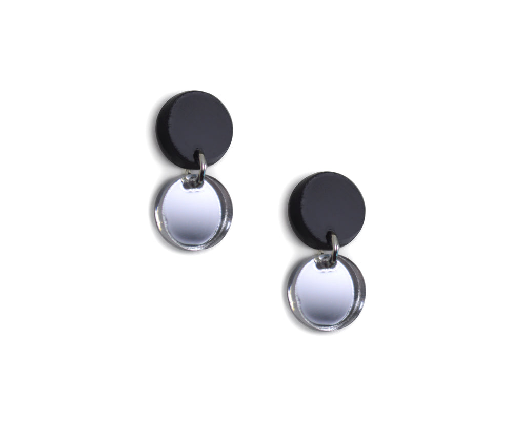 Silver Mirror Mini Circles Earrings