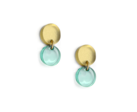 Glass & Gold Mini Circles Earrings