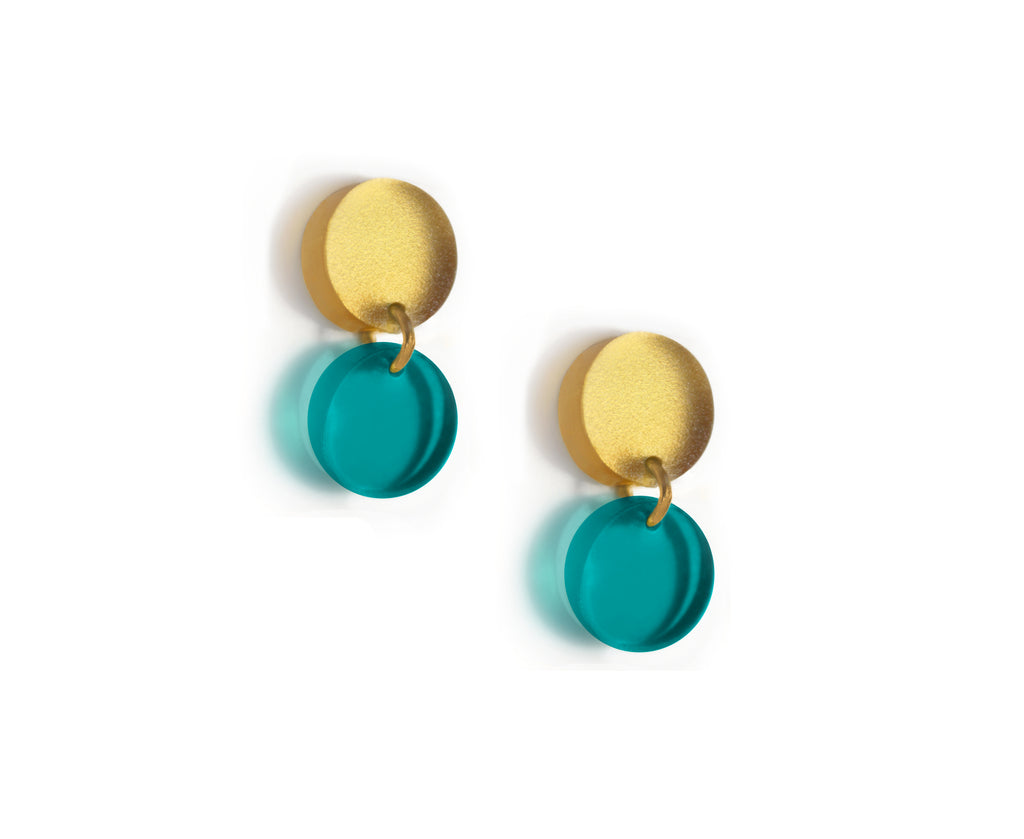 Teal & Gold Mini Circles Earrings