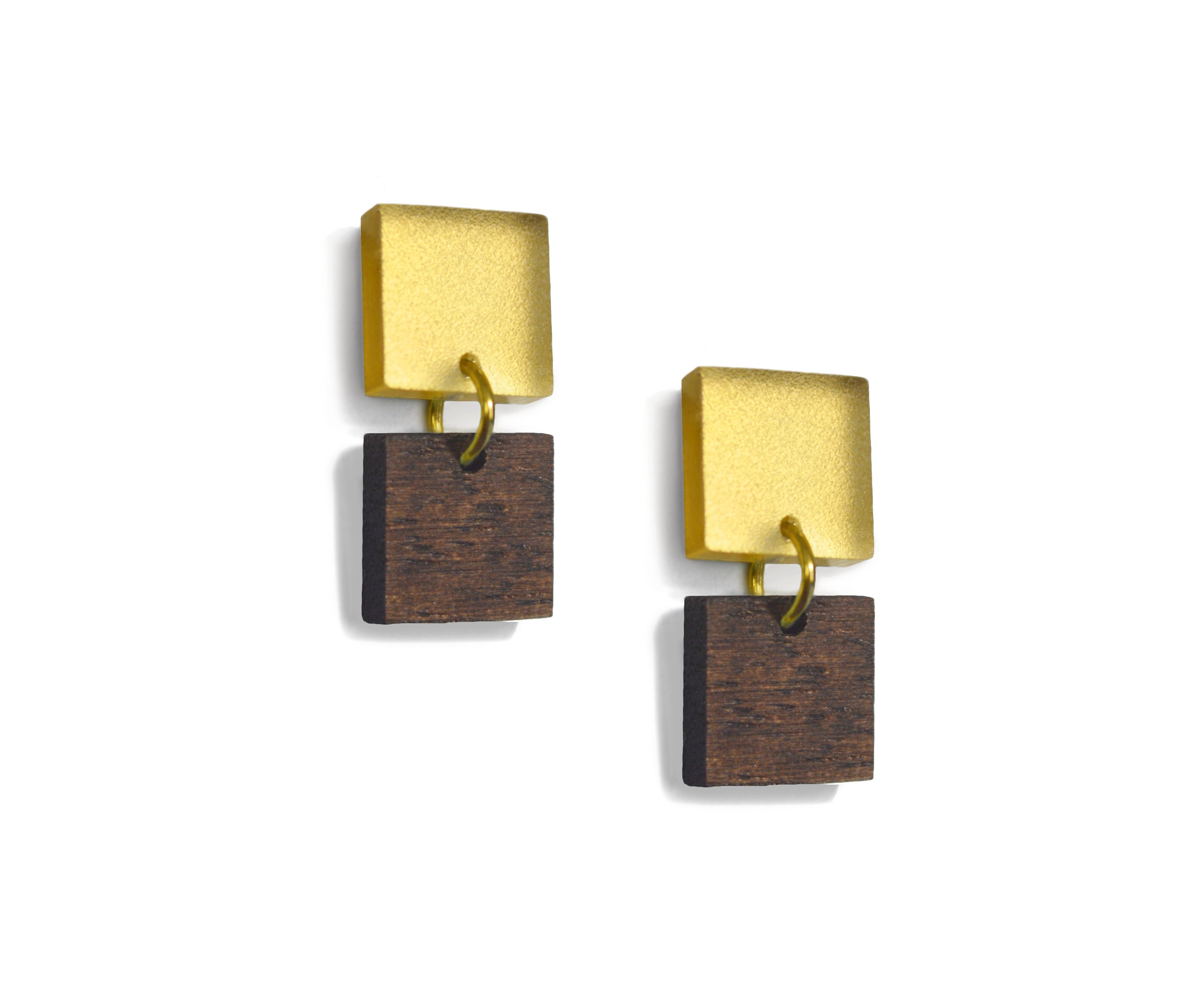 Wood & Gold Mini Squares Earrings