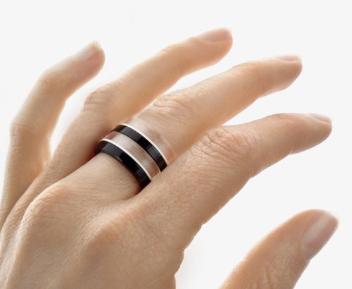 Black Piano Mod Stackable Ring