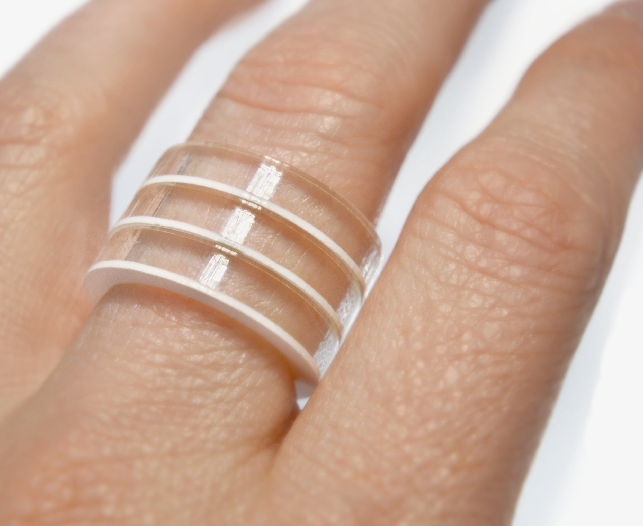 White Stripes Stackable Ring