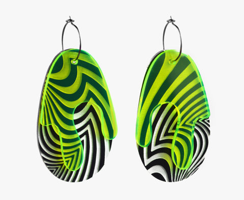 Krypto 'Hypnotica' Opt Art Earrings