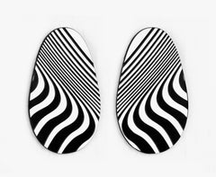 Black & White 'Gravy Wavy' Op Art Earrings