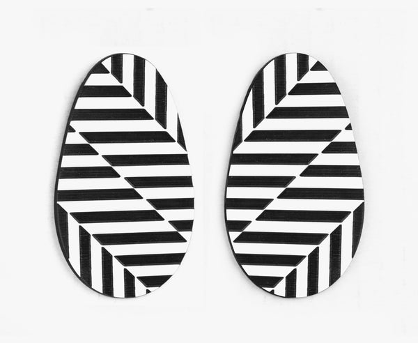 Black & White 'Hazard' Op Art Earrings