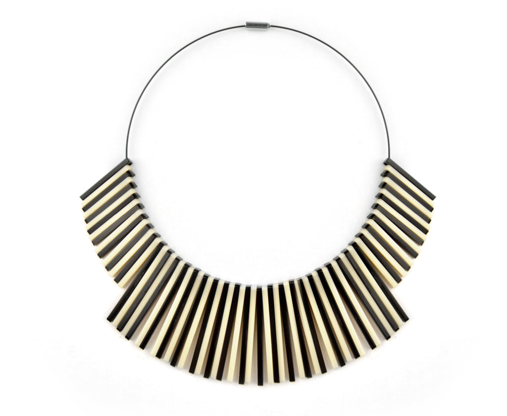 Bone Piano Mod Collar Necklace