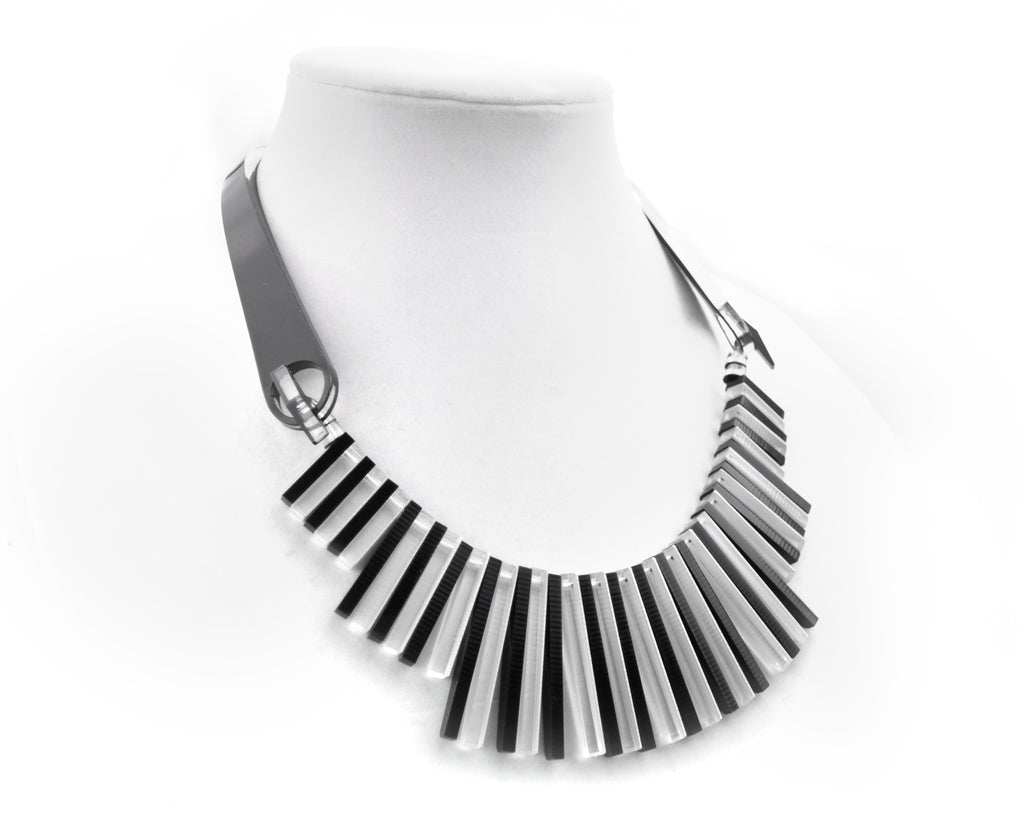 Black & White Piano Mod Necklace