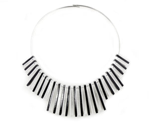 Black & White Piano Mod Collar Necklace
