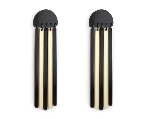 Bone & Black 'Piano Mod' Plank Earrings