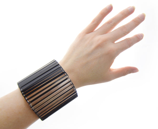 Black / White 'Disappearing Act' Bracelet Wide Cuff