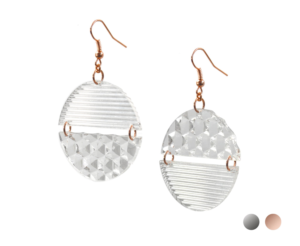 Clear Hinged Prism Earrings