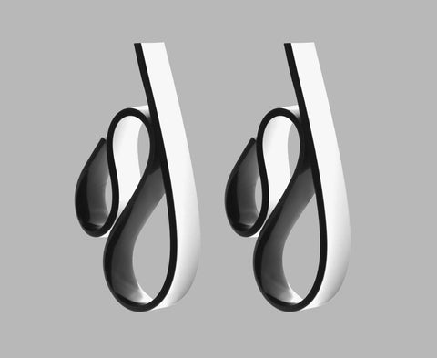 Black & White 'Ribbon Wave' Earrings