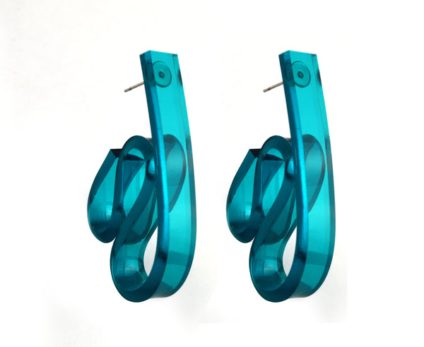 Teal 'Ribbon Wave' Earrings