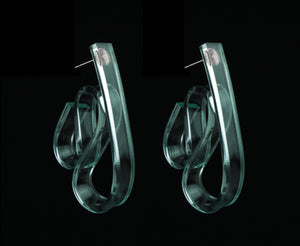 Glass Ribbon Wave Earrings