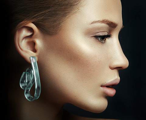 Glass 'Ribbon Wave' Earrings