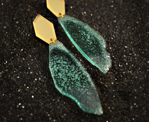 Glass & Gold 'Sea Foam Shard' Earrings