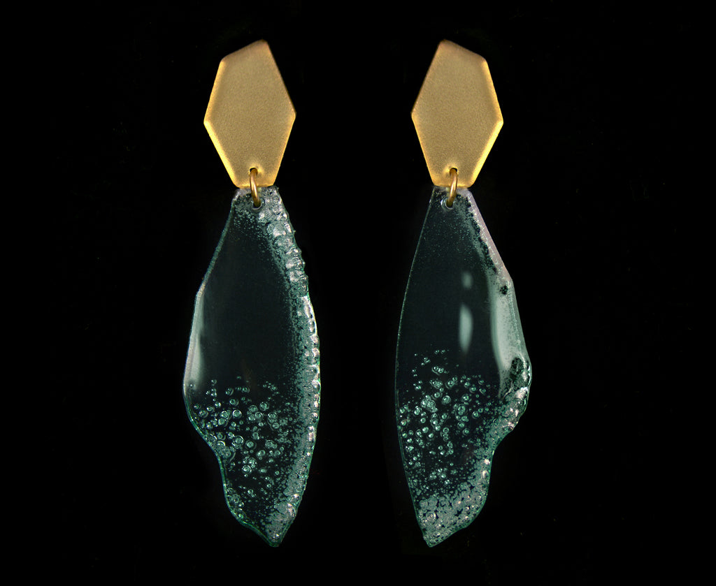 Glass & Gold Sea Foam Shard Earrings