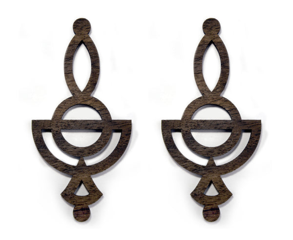 Wood Tribal Cutout Graphic Earrings