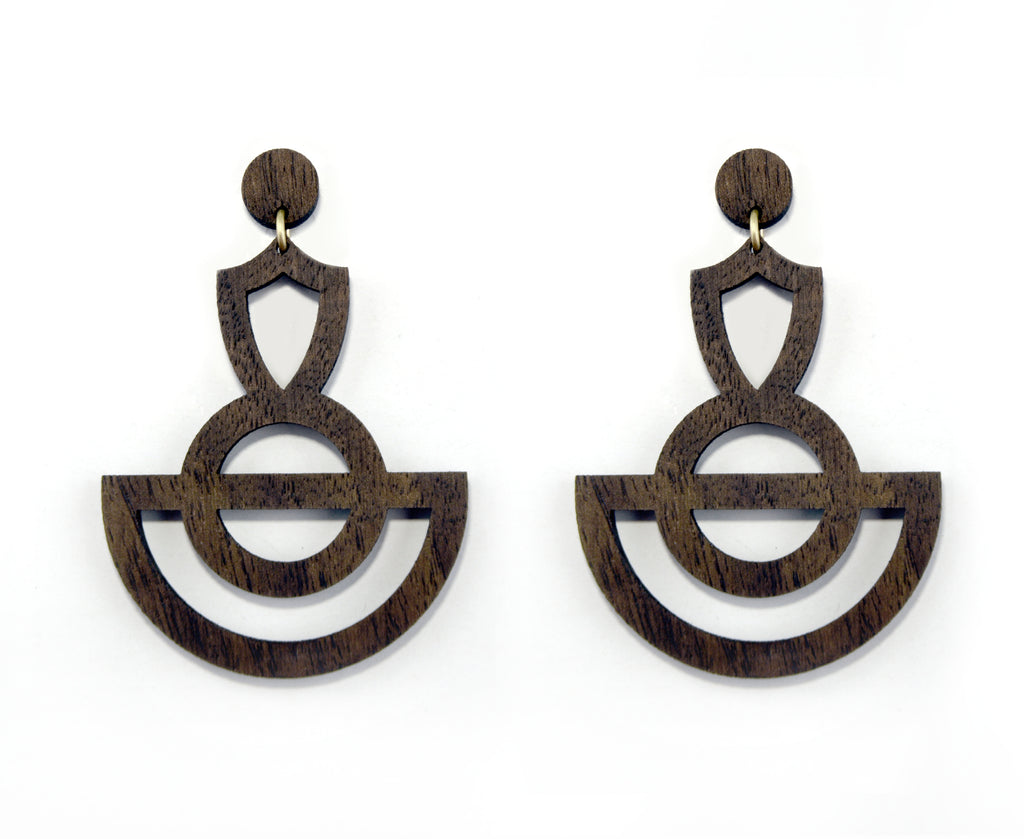 Wood Tribal Cut Out Swing Graphic Statement Earrings