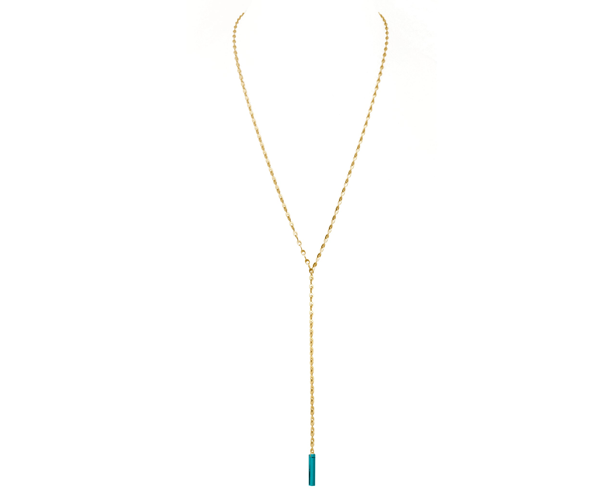 Teal & Gold Eyelet Chain Lariat Necklace