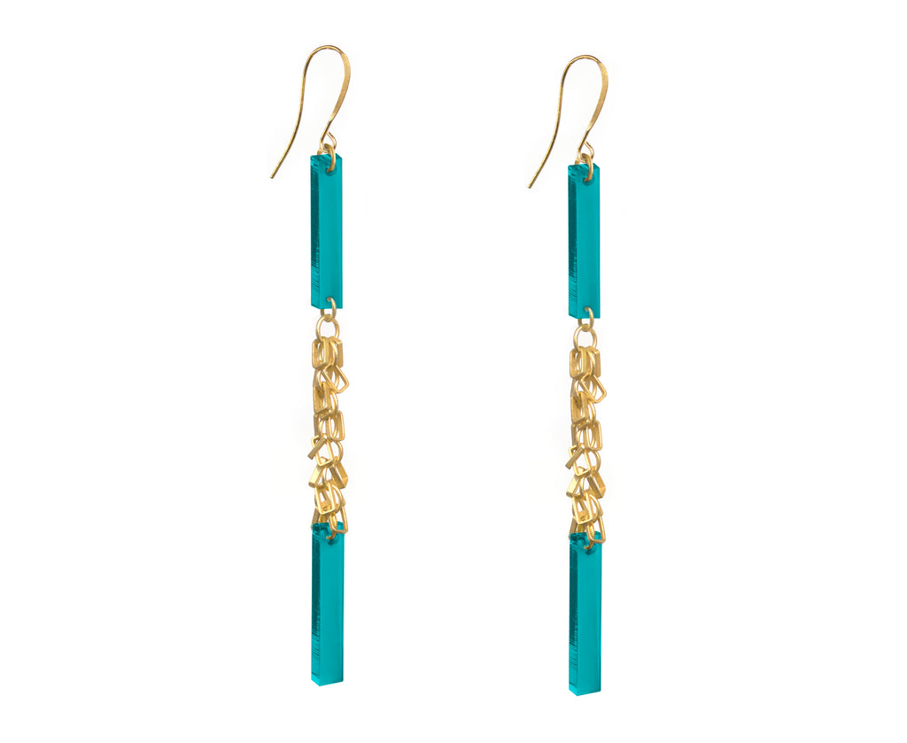 Teal & Gold Fringe Double Plank Earrings