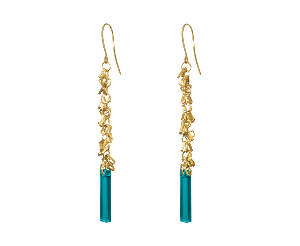 Teal & Gold Fringe Earrings