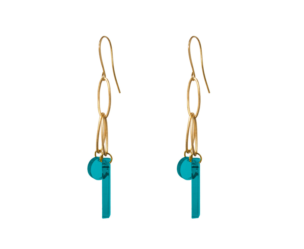Teal & Gold Loop Earrings