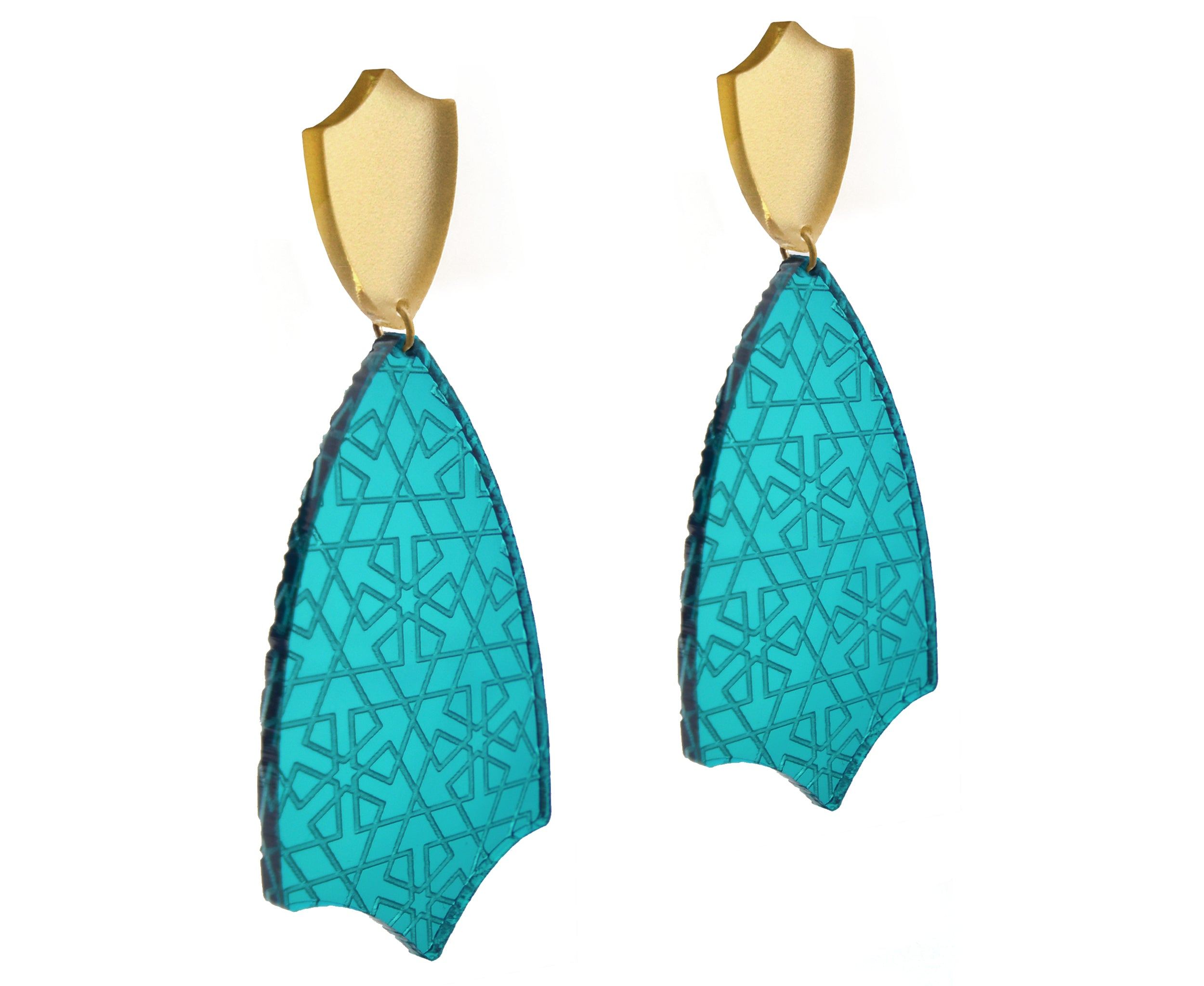 Teal & Gold Etched Tulip Earrings