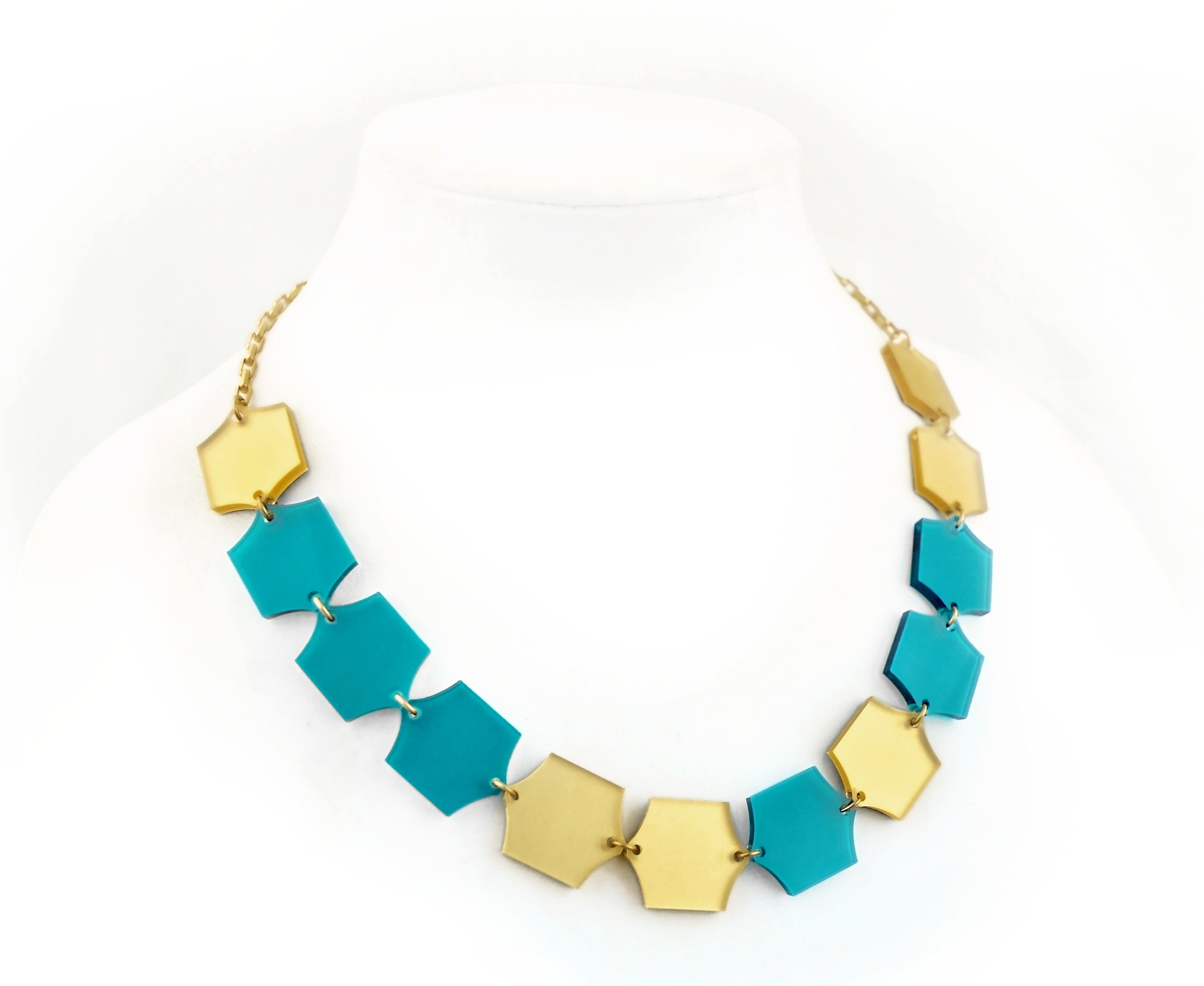 Teal & Gold Hexagon Necklace
