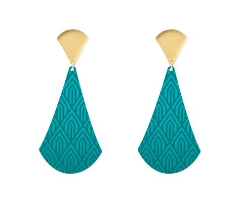 Teal & Gold Art Deco Pendulum Earrings