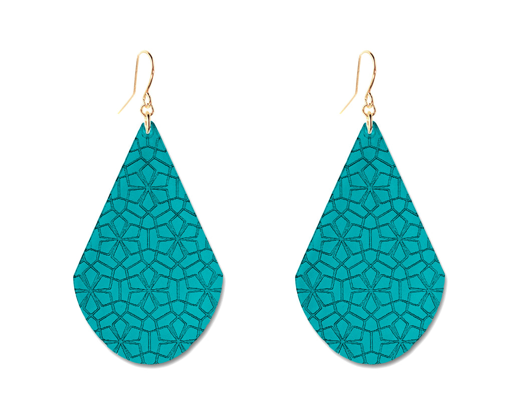 Teal & Gold Etched Drop Earrings