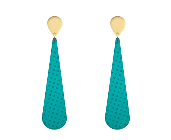 Teal & Gold Etched Polka Dot Earrings