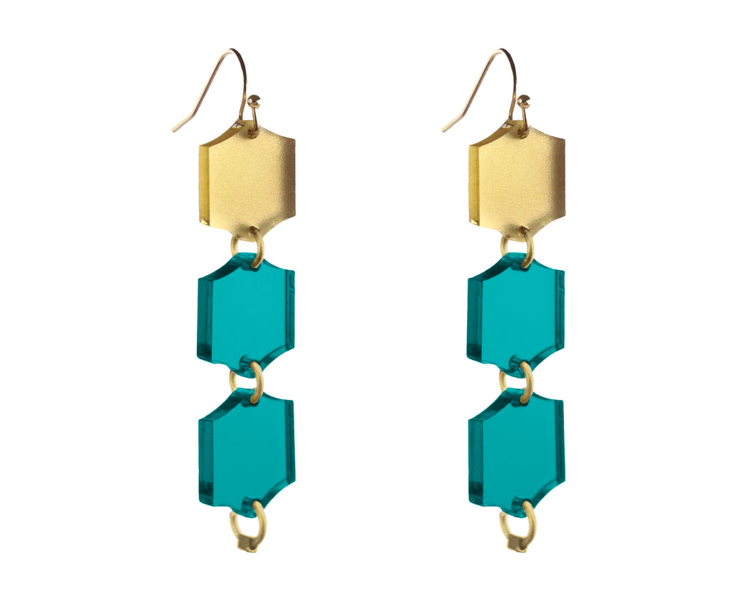 Teal & Gold Hexagon Trio Dangle Earrings