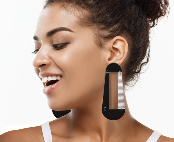 Black Featherweight Temple Door Earrings