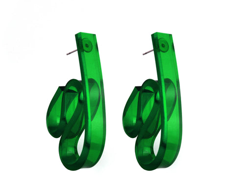 Emerald Ribbon Wave Earrings