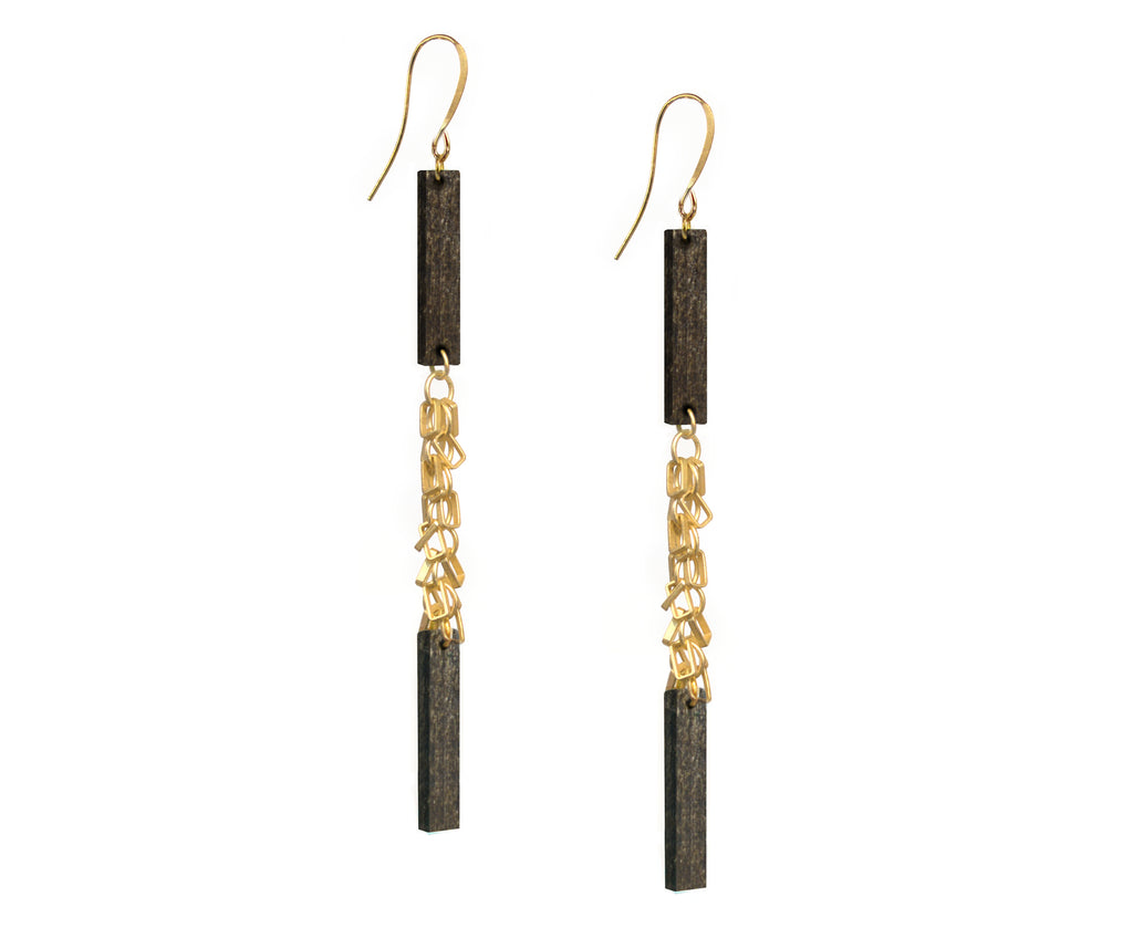Wood & Gold Fringe Double Plank Earrings
