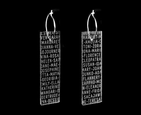 Clear 'Women of History' Plank Hoop Earrings