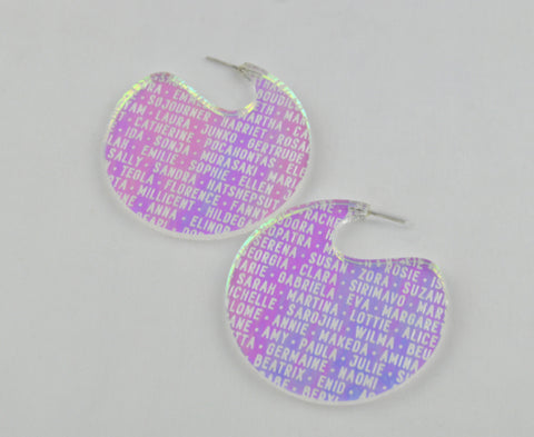 Iridescent 'Women of History' Disc Hoop Earrings