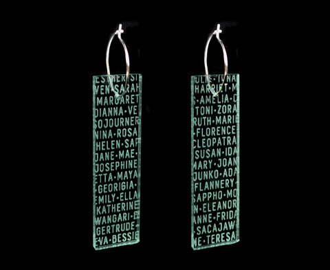 Glass 'Women of History' Plank Hoop Earrings