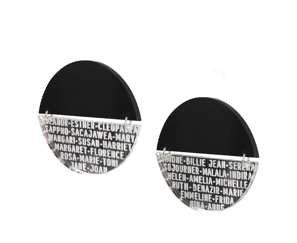 Silver Mirror Women of History Earrings