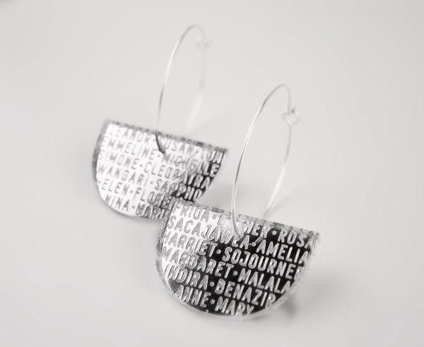 Silver Mirror 'Women of History' Hoop Earrings