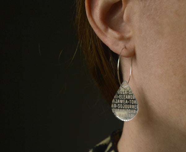 Glass 'Women of History' Drop Hoop Earrings